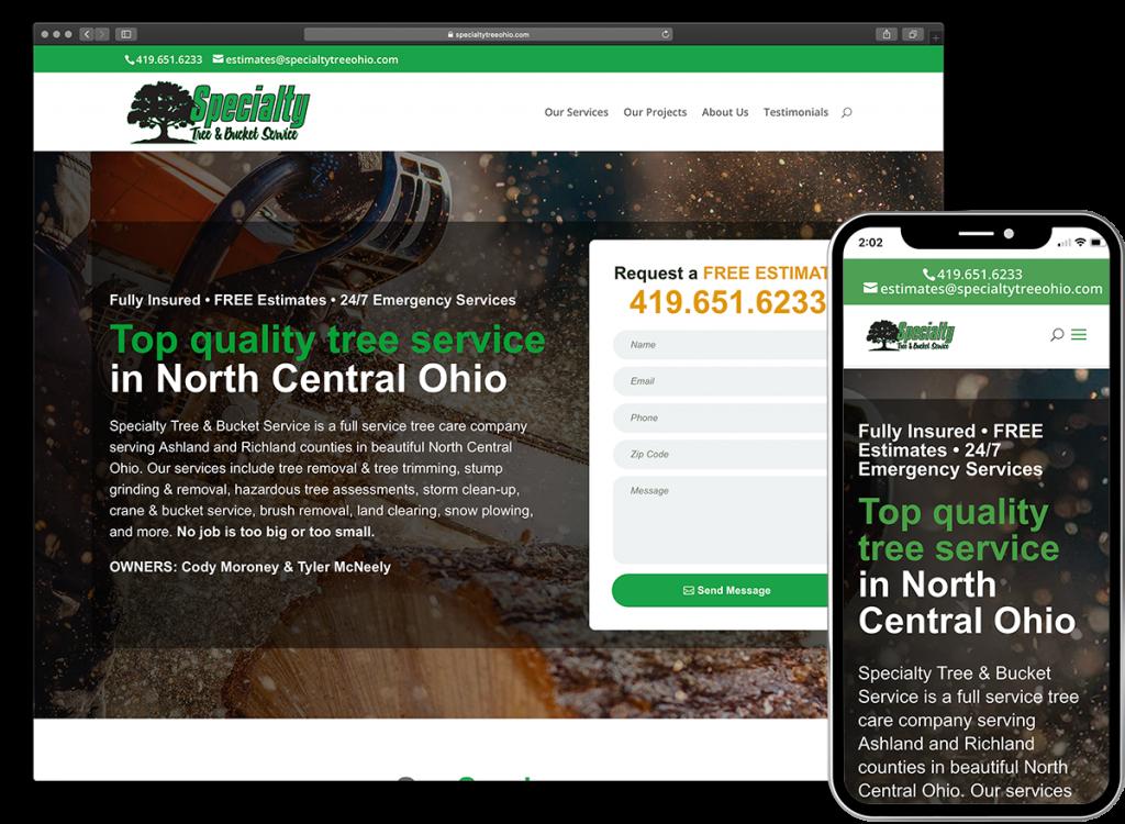 Specialty Tree & Bucket Service website