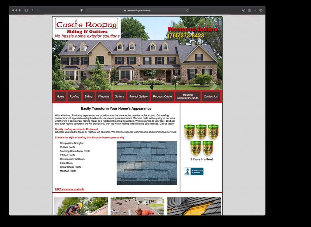 Castle Roofing website - before